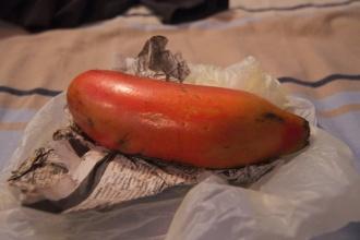 Červený banán za tři dny konečně dozrál :)