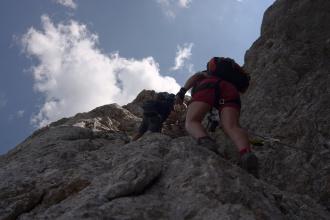 Další, nekonečné stoupání, ferrata má až na vrchol převýšení přes 900m.