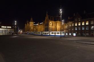 Náměstí u centra Amsterdamu.