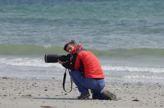 Michal při focení tuleňů ...